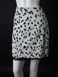 TRINA TURK-Faux Spotted Fur & Lace Skirt, Size-6