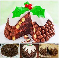 NO BAKE Malteser Christmas Pudding Cake
