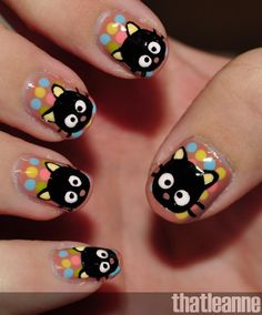 Discover a lot of photos about Cat nail designs, a service that helps you discover and save photos of the best ideas Emo Nail Art, Nail Art Kawaii, Animal Nail Art, Nail Art Hello Kitty, Love Nails, Pretty Nails, Sexy Nails, Fancy Nails, Bling Nails