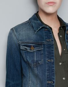 DARK WASH DENIM JACKET - Blazers - Woman - ZARA