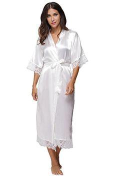 KimonoDeals Women s Elegant Lace Trim Solid Color Long Kimono Robe c2f33af01