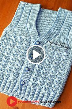örgü kataloğu - knitting for babies Baby Cardigan Knitting Pattern, Baby Boy Knitting, Knitted Baby Cardigan, Knit Baby Sweaters, Easy Knitting Patterns, Knitting Designs, Gilet Crochet, Crochet Baby, Knitting Videos