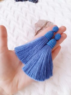 Tassel earrings. Blue earrings. Light blue earrings. Blue