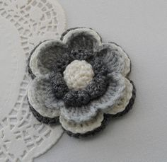 CROCHET BROOCH APPLIQUE CHARKOAL GREY IVORY 3D ACRYLIC FLOWER in Crafts, Needlecrafts & Yarn, Crocheting & Knitting | eBay!
