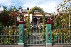 Victorian wrought iron gate and fence Steel Gate Design, Fence Design, Wrought Iron Gates, Garden Gates, Victorian Homes, Home Projects, Gazebo, Outdoor Structures, House Styles