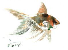 Goldfish original painintg small 7 X 5 in nursery by ORIGINALONLY