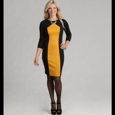 Black & Yellow Gold 3/4 Sleeve Sheath Dress Designed to take you from daytime to dinner, this sheath dress from London Times features a yellow gpld inset. A crewneck and 3/4-quarter sleeves add simple style to the bold dress.  Color options: Black/Yellow Gold, Ponte Sheath Dress, 3/4 Sleeves, Crewneck, Unlined, Exposed center back zipper closure. The approximate length from the top center back to the hem is 35.5 inches. The measurement was taken from a size 8. 98% Polyester 2% Spandex. Dry…