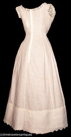"""1907 lady's fine white linen Princess style petticoat trimmed in bobbin lace and with an embroidered scalloped flounced hem. A blind back shell button closure. A 36"""" bust, 26"""" waist, and 54"""" from shoulder to front hem. ___ from time-travelers ___ photo 3"""