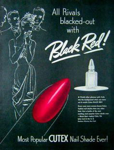 Cutex 'Black Red!' Nail Polish Ad, 1942