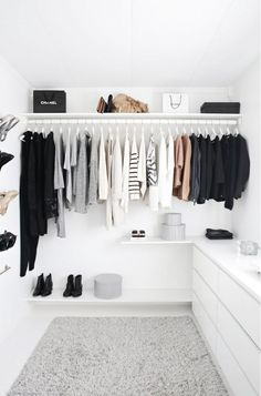 White and neutral closet with open hanging organization and IKEA Malm dresser