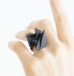 Black Jewelry, 3D Printed Ring, Geometric Fashion, Origami Inspired