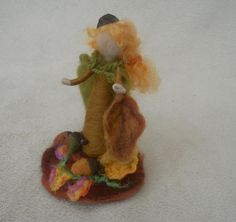 woodland fairy, Oak Leaf Fairy, autumn fairy, hand felted fairy, needle felted fairy, play mat, play scape, pre school, yellow brown green