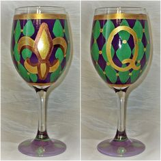 Royal Court Mardi Gras Wine Glass by SunnyBelleDesigns on Etsy, $18.00