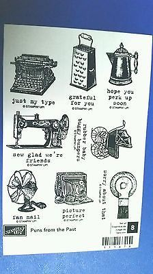 PUNS FROM THE PAST Rubber Stamp Funny Ensemble Set Antiques VINTAGE Humor New