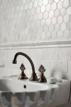 Bathroom sink: combination of subway tiles and hex (honeycomb tiles)