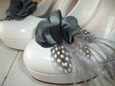 Bridal Shoe Clips  Charcoal gray satin flower by ShoeClipsOnly, $22.00