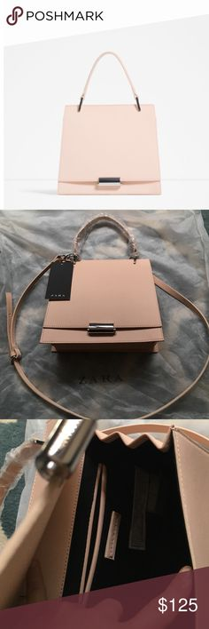 "NWT Zara Embossed Blush Mini City Bag Rare blush colored minibag from Zara SS16 collection.  Measures 8.5"" by 9.5"" by 4"".  Faux leather with silver tone hardware, gusseted bottom, adjustable and removable strap. Zara Bags Crossbody Bags"