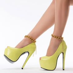 Gorgeous Yellow Coppy Leather Metal Chain Ankle Strap Platform Shoes