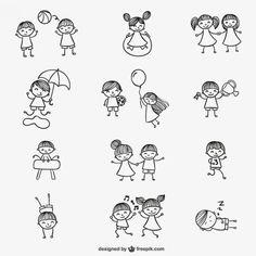 Miúdos que jogam doodles Vetor grátis                                                                                                                                                                                 Mais