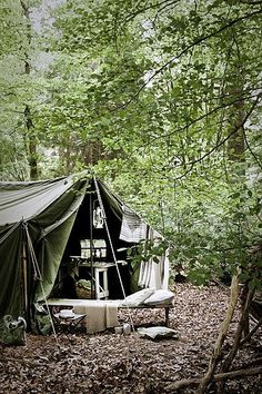 There's something so wonderfully rustic about a big, friendly tent in the woods..