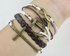 Bracelet-cross bracelet, infinity bracelet, karma bracelet, anchor bracelet rope bracelet, leather bracelet-gift for her/him. $7.99, via Etsy.