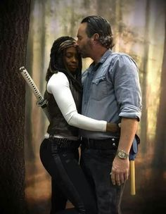 Michonne and Rick.   The new Grimes family...
