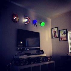 Super hero room. How awesome! Perfect for a night light!