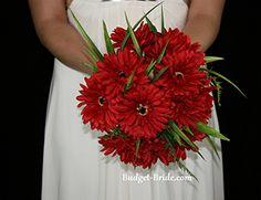 Flame Red Cheap Silk Wedding Bouquet