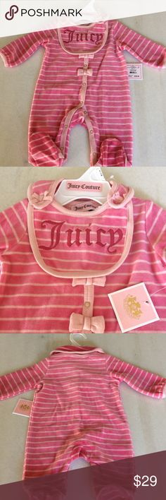 Baby Juicy Couture velour Onesie/Bib set pink 0-3m BNWT Juicy Couture baby footed onesie/bib set in size 0-3mos. No flaws, tags attached...Listing many more baby items check back soon! Juicy Couture One Pieces Footies