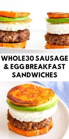 Delicious and Easy Breakfast Sandwiches 30 recipe breakfast Sausage & Egg Breakfast Sandwiches - The Bettered Blondie Fast Food Breakfast, Whole 30 Breakfast, Breakfast Recipes, Breakfast Cooking, Easy Paleo Breakfast, Whole 30 Dessert, Mexican Breakfast, Breakfast Pizza, Breakfast Bowls