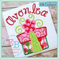 dotted swirl present applique - Christmas Applique Designs