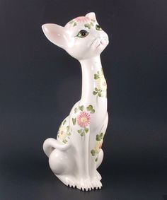"Vintage Italian Art Pottery 14"" CAT Figurine Hand Painted #1261"