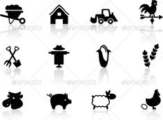 Farm Icons Set — JPG Image #agriculture #rooster • Available here → https://graphicriver.net/item/farm-icons-set-/2238028?ref=pxcr