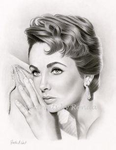 Elizabeth Taylor by rondawest {from USA} ~ pencil portrait