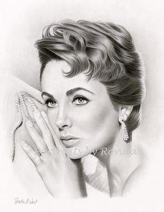 Elizabeth Taylor by rondawest {from USA} ~ pencil portrait