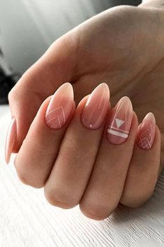 30 Perfect Pink And White Nails For Brides ❤ pink and white nails bridal boho geometry design idea ksu.nails 30 Perfect Pink And White Nails For Brides ❤ pink and white nails bridal boho geometry design idea ksu. Cute Acrylic Nails, Cute Nails, Pretty Nails, Fancy Nails, Pretty Makeup, Hair And Nails, My Nails, Oval Nails, Bride Nails