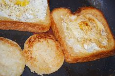 Egg In the Hole: my grandmother always made toast in a skillet, since she didn't have a toaster. We still make egg-in-the-holes and these look good!! Don't forget to toast the hole you cut out, and use butter!