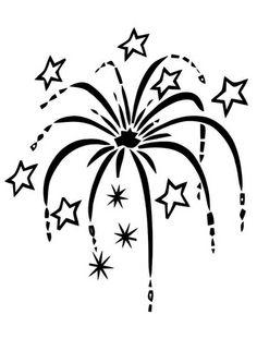 Dibujo para colorear fuegos artificiales