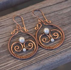 Copper and Pearl Maya Earrings. $39.00, via Etsy.
