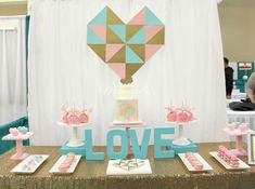 Geometric birthday party dessert table! See more party planning ideas at CatchMyParty.com!