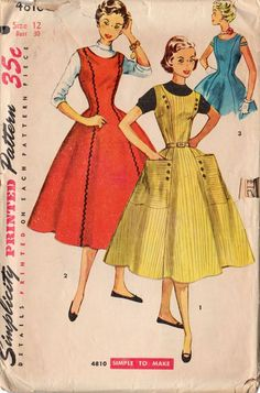 Vintage 1950s Simplicity Sewing Pattern 4810 Teen Girls Rounded Neckline Dress Bust 30...