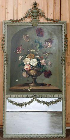 Antique Louis XVI Painted Trumeau circa 1890s. #antique