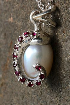 Octopus Red Ruby Pearl Necklace  .925 sterling made by billyblue22