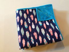 Blue Feather Print Baby Blanket Teal Blue Minky by StarBoundHorses