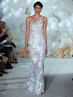 Mira Zwillinger Spring 2018 silver ivory one shoulder sequined embroidery over silver lace