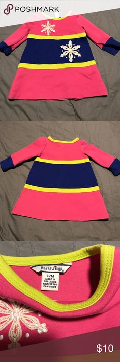 EUC pink, blue & yellow dress. Size 12 months EUC heartstrings dress/ tunic size 12 months.  Fits closer to 12-18 months.  Perfect for winter/ holidays with snow flake  detail on front. Hartstrings Dresses Casual
