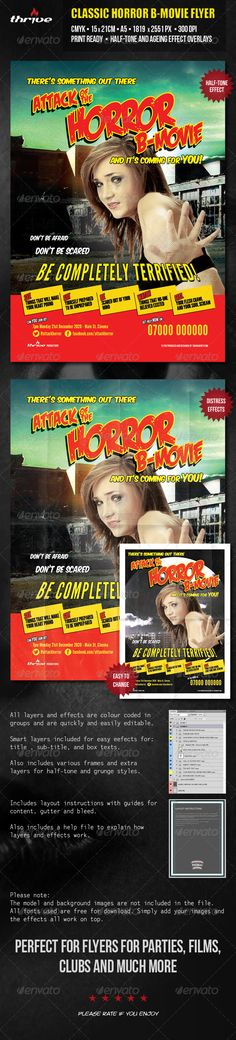 Horror B Movie Flyer  A5 — Photoshop PSD #b movie #flyer • Available here → https://graphicriver.net/item/horror-b-movie-flyer-a5/3605923?ref=pxcr