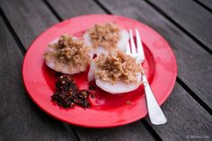 Home recipe for Chwee Kueh (水粿) a hawker breakfast dish in Singapore involving soft rice cakes topped with fried preserved turnip.