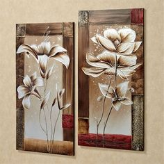 Immerse yourself in the beauty of spring with the Petals of Spring Floral Canvas Wall Art Set. These handpainted oil on canvas artworks beautifully depict silver and bronze flowers on a fading tan background, framed by different colors and textures. Diy Canvas Art, Canvas Artwork, Canvas Wall Art, Photo Canvas, Canvas Prints, Art Original, Inspirational Wall Art, Panel Art, Wall Art Sets