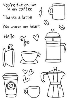 Jane's Doodles COFFEE TIME Clear Stamp Set 77031 zoom image